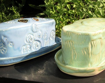 Handmade Butter Dish with Stamp Designs in Turquoise Blue or Creamy Sage