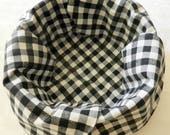 """Basket Liner, Table Topper, Bread Cloth, Fruit Bowl Liner, Centerpiece, Black and White """"PICNIC PLAID"""". Handmade Table Linens"""