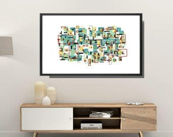 Mid Century Modern, Framed Art Print, Abstract Art Print, Framed Modern Art,