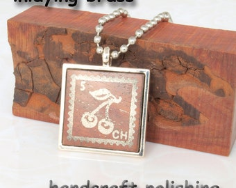 NEW 1 pcs inlaying  brass cherry stamp  rosewood silver tone  pendant