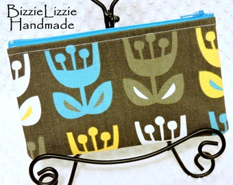 Back to School Pencil Pouch, Scandinavian Tulip Fabric Cosmetic Bag, Yellow Gray Turquoise Zipper Pouch