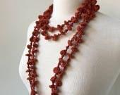 100% Silk Necklace, Ultra Long, Terra Cotta, Fiber Art Jewelry, Statement Necklace, Natural, Unusual, Boho, Elegant, Unique