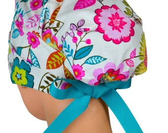 Scrub Hats // Scrub Caps // Scrub Hats for Women // The Hat Cottage // LARGE // Ribbon Ties // Vintage Bloom