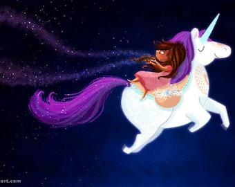 "Unicorn, Unicorn girl, unicorn art print, unicorn print, unicorn girls room, nursery wall art, brown girl magic - ""Ek Tara, Do Tara"""