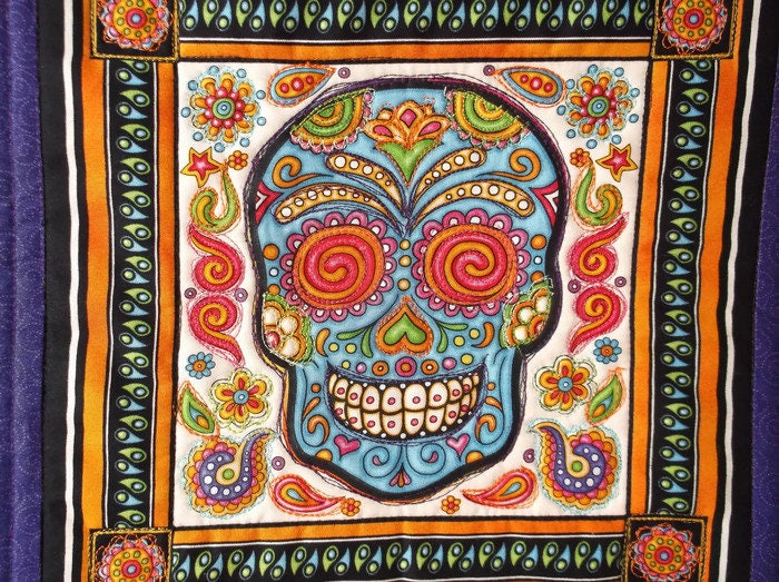 Sugar Skull Quilt, Mexican Quilt, Day of the Dead Decor, Mexican ... : mexican quilt - Adamdwight.com