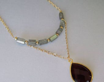 Garnet Quartz Vermeil Labradorite Crystal 14kt Gold Filled Necklace