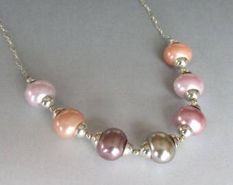 Pastel Colored Shell Pearls Sterling Silver Necklace
