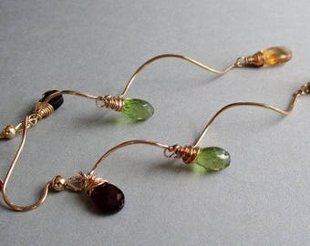 Garnet Citrine Peridot 14kt Gold Filled Spiral Earrings