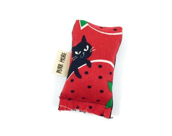 Black Cat And Strawberries Green Bean Organic Eco Friendly Catnip Cat Toy For Mew, Gift For Cat Lover