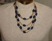Gold and Navy Blue multi (five) strand necklace