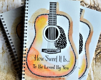 Guitar Journal, Guitar Notepad, Guy Gift, Guitar Watercolor, Guitar Painting, James Taylor Quote, Paper Products, Guitar Note Book, Guitar