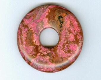 Focal Donut Pendant, 50mm Brown and Pink Gemstone PI Donut Focal Pendant 5161B