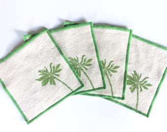 Spring Daisy Cocktail Napkin Set of Four-Handmade in Seattle- 100% cotton cloth coaster