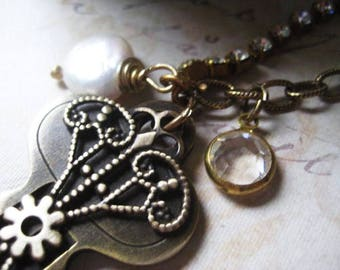 Vintage Key Necklace, Bronze Chain, Vintage Filigree, Rhinestone Chain, Coin Pearl, Vintage Crystal, Long Chain, candies64