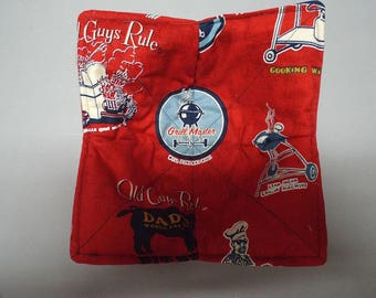 Micorwave Bowl Cozy or Potholder - Old Guys Rule Grilling, Fishing, Patriotic Fabric