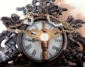 Vintage Brass Clock Key Made in England with Watch Face and Gold Tone and White Chains, Pedant Necklace
