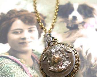Dog, 1800s BUTTON necklace, Victorian terrier on brass chain. Antique Button jewellery.