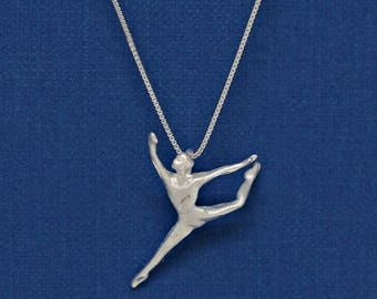 Welcome Summer Sale Sterling Silver Ballerina Ballet Modern Dance Dancer Diamond Cut Charm Pendant Customize no. 2210