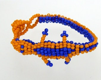 Bracelet Beaded Gator Alligator Florida Colors Orange and Blue 7 to 8 Inches Adjustable
