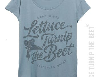 lettuce turnip the beet ® trademark brand OFFICIAL SITE - blue women's t shirt with cursive grey logo - yoga, crossfit, farmers market top
