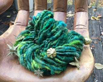 Handspun Art Yarn-Adorned-Jazzzturtle Signature HOLIDAY Art Yarn with Dangly Charms