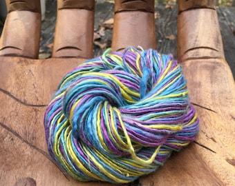 Handspun Art Yarn- Winter Boquet- Jazzturtle Signature SmoothSpun Vegan Artisan Yarn