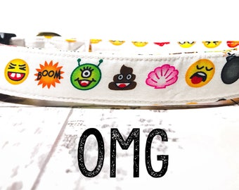 "Whimsical Playful & Fun Unique Emoji Emoticon Happy Face Dog Collar - Antique Brass Hardware - ""OMG"""
