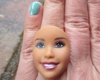 Barbie Doll Face - upcycled adjustable ring -Brown Eyes