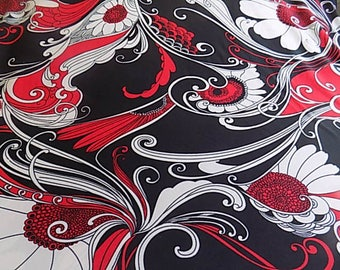 Vintage Black Polyester Fabric with Red and White Mod Floral Design