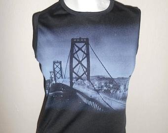 90's Vintage SF San Francisco Golden Gate Bridge shirt top     club kid grunge