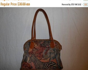 SALE 25% off SALE Vintage purse with animals/ leather trim shoulder bag