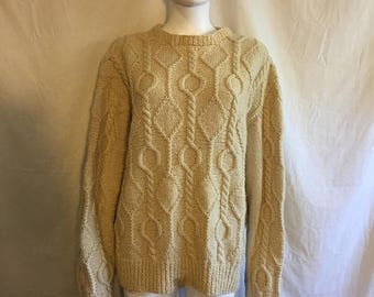 Closing Shop 40%off SALE ARAN Sweaters Wool Thick Handmade Sweater, Made in Ireland sweater