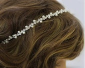 Vintage Inspired Bridal Headband Pearl and Rhinestone Art Deco Wedding Hair Accessory Simple Thin Crystal Hairband Bohemian Forehead Halo