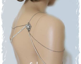 Wedding Shoulder Jewelry Art Deco Inspired Bridal Shoulder Necklace Silver Body Necklace Rhinestone Backdrop Chain Crystal Shoulder Jewelry