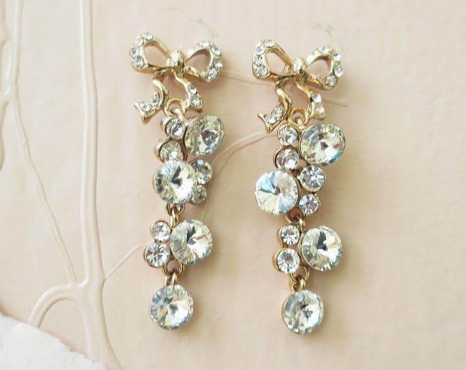 Tie The Knot Earrings Gold Chandelier Zirconia