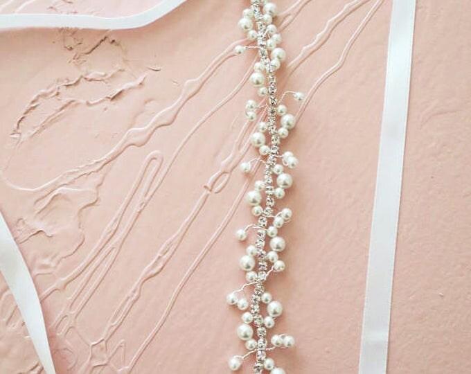 Pearl Rhinestone Wedding Belt in Vintage Style