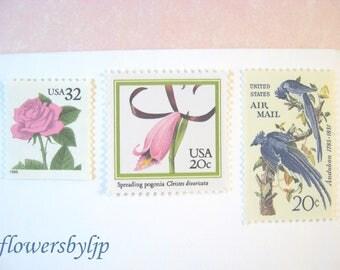 Pink Floral Wedding Postage Stamps, Pink Rose - Pink Orchids - Audubon Blue Jays Stamps, Mail 20 Invitations 2 oz, 70 cents postage unused