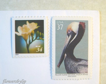 Wedding Postage Stamps Floral Nature, Mail 20 Wedding Invitations, Pelican Stamp - Orchid - Lily Stamps, 2 oz 71 cents, Flower - Bird Stamps