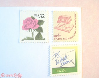 Pink and Green Postage Stamps, Pink Rose - Write Soon Spring Green - Book Stamps, Mail 10 Cards 1 oz RSVPs 2018, 50c postage stamps unused