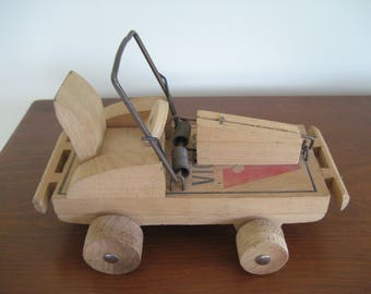 Mousetrap toy racing car vintage handmade folk art mouse vehicle