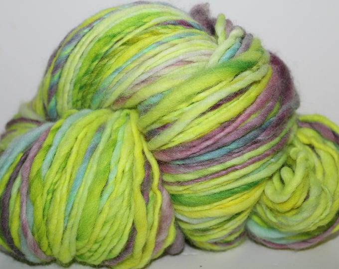 Hand spun Cheviot Wool. Single ply. Hvy Worsted weight. 1/2lb/236 yards. Knit.