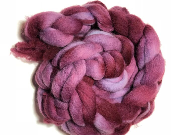 Kettle Dyed Cheviot Wool top. Roving.  Spin. Felt. Soft and easy to work with. Plum Berry.