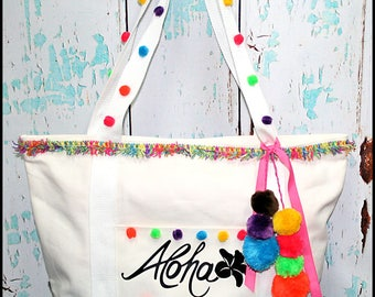 Summer Aloha Pineapple Large Cotton Canvas Beach Bag, vacations Tote. Handbag, Pom Poms Bag, Ready to Ship Handmade Boutique