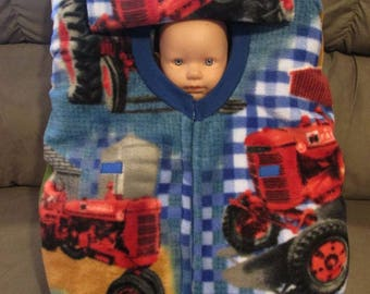 """Case IH Tractor """"Double"""" Fleece infant car seat cover with full zipper.  Great shower or baby gift."""