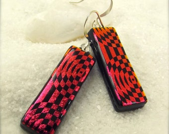 Statement trendy earrings, handmade jewelry, dichroic glass earrings, striped earrings, fused glass, Hana Sakura Designs, ruby red earrings