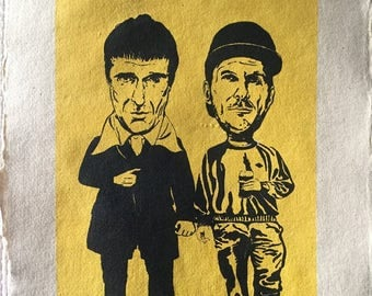 Limited Edition Screen prints of The Sleaford Mods. Editions 1 - 4. Printed on handmade paper, approximately 29.7x42 cm.