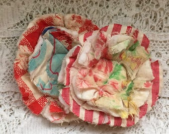 2 upcycled fabric flowers, cottage chic flower, gift top lot flower supplies, scrap flowers shabby upcycled quilt flower scrap appliques #48