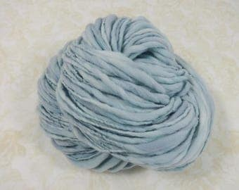 Handspun Yarn Bulky Thick and Thin Merino Wool 100 yards light blue hint of lavender