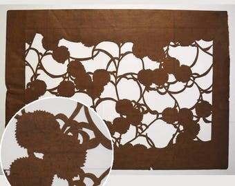 "Vintage Japanese Katagami Stencil Persimmon Paper ""Pom Poms"""