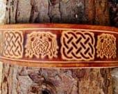 Leather bracelet,Tan, Wolf, Dog, Dragon, Celtic, Viking, Pagan, Wicca.